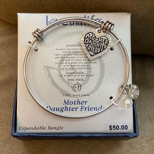 Mother Daughter Friends Silver Charm Bangle